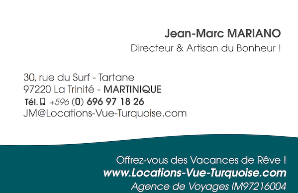 Jean-Marc Mariano business card - Locations Vue Turquoise