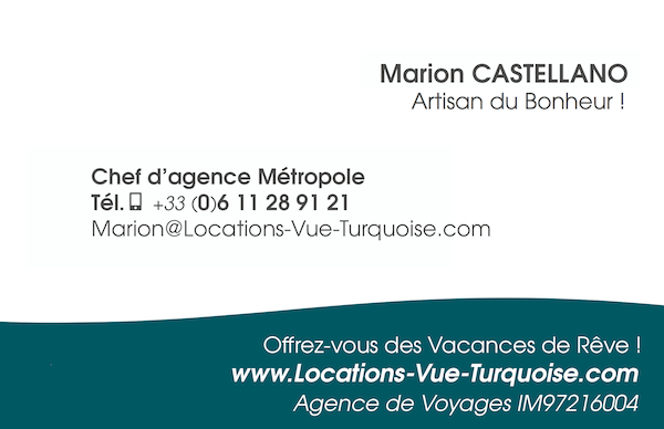 Marion Castellano business card - Locations Vue Turquoise